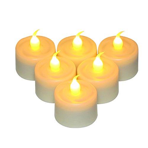 Teelichter Teelicht Kerzen Lichter, mit 6-Stunden-Timer, Batteriebetrieben, inkl. Batterie 2xCR2450, 100% sicher und nicht dargestellt Elfenbein, 6-Pack, für den Innen- und Außenbereich (Große Kerze-halter-laternen)
