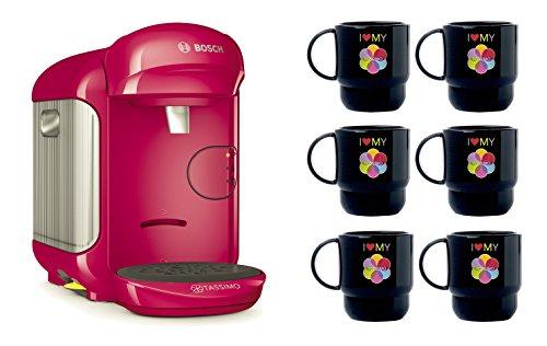 Bosch TASSIMO Vivy 2 Bundle Set + 6x Tupper Becher Tasse Kaffeemaschine (Pink) - 2 Becher Kaffeemaschine
