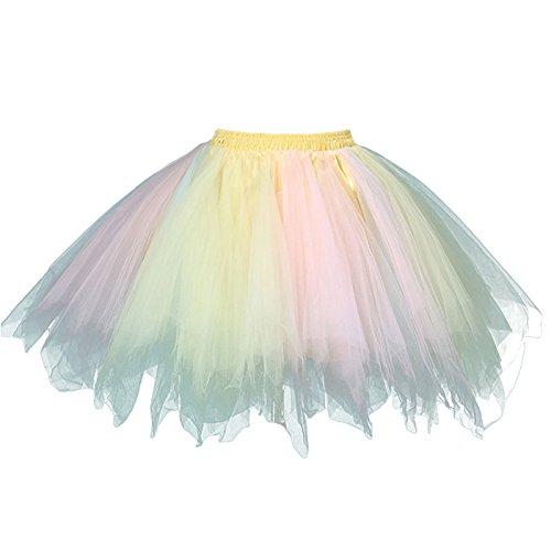 ro Petticoat Rock Ballett Blase 50er Tutu Unterrock Tütü Abschlussball Tanzkleid Party Minirock Tüllrock (Blasen Kostüme)