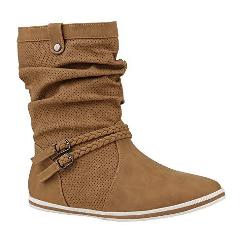 Damen Schlupfstiefel Sportliche Stiefel Leder-Optik Boots Schnalle 172604 Hellbraun Khaki 40 Flandell
