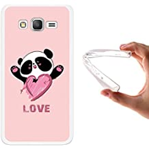 Funda Samsung Galaxy Grand Prime, WoowCase [ Samsung Galaxy Grand Prime ] Funda Silicona Gel Flexible Oso Panda y Corazón Love, Carcasa Case TPU Silicona - Transparente