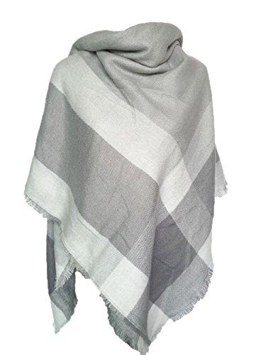 Damen Herbst Winter Schal Imitation Kaschmir Kariert Deckenschal 140*140cm Grau