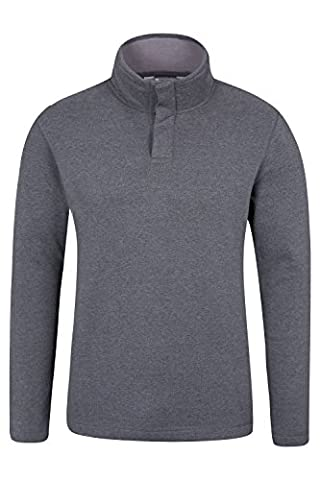 Mountain Warehouse Alpha Mens Button Neck Top Charcoal Large