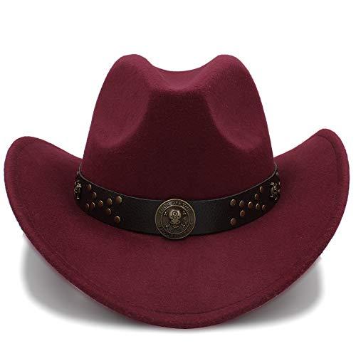 HUACHEN Western Cowboy Hüte Reisen Caps für Frauen Männer Caps Hüte Vintage Cowgirl Cowboys Hüte Filz Jazz Cap Outdoor-Hüte (Farbe : Weinrot, Größe : 56-58CM)