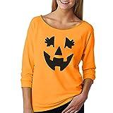 Kürbis Halloween Sweatshirt Frauen Kapuzenpullover Langarm Print Pullover Top Freizeit T-Shirt Mit...