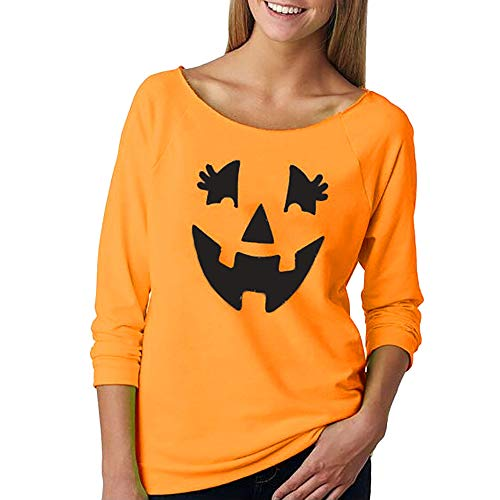 VEMOW Elegante Damen Frauen Casual Langarm Halloween Kürbis Drucken T-Shirt Casual Täglich Party Cosplay Kapuzenpulli(Orange, ()