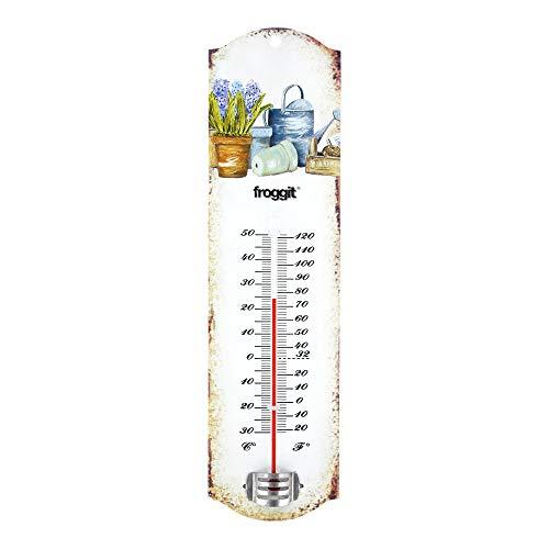 Froggit Vintage Targa in Termometro con giardino Motiv Termometro esterno giardino, Retro nostalgia