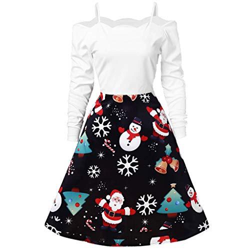 Prinzessin Kostüm Rosa Classic Women's - Zegeey Damen Kleid Weihnachten Party Cosplay KostüM Classic Langarm Rundhals Festlich Geschenk A-Linie Christmas Print 50er Jahre Weihnachtskleider(A2-Weiß,M)