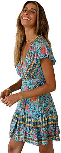 SEMIR Mujeres Sexy Cuello en V Boho Estampado Floral Mini Vestido Casual Vintage Summer Beach Wrap Sash Corto Vestido de Fiesta por la Noche Verde S