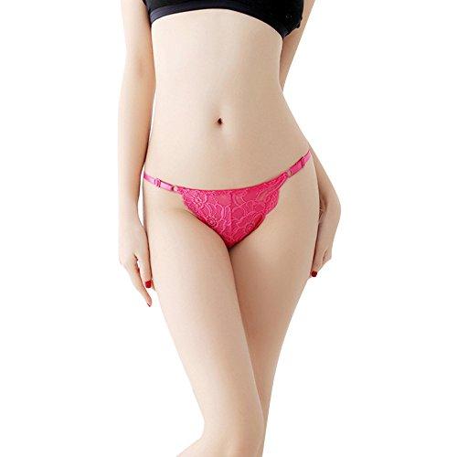 YSFWL  Bekleidung Damen Dessous Unterhosen Unterwäsche Packung Wäsche Thongs Unterkleidung Reizvoller Spitze Offen Schritt Niedrige Taille Tangas Sexy Lace Briefs Panties G-String (Hot Pink) -