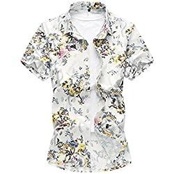 Yacun Hombres De Manga Corta Camisas Hawaianas Playa Floral Casual Tops White XL