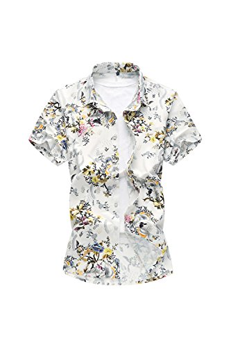 Yacun-Hombres-De-Manga-Corta-Camisas-Hawaianas-Playa-Floral-Casual-Tops-White-S