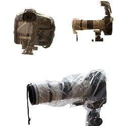 Universal Rain Cover pour appareils photo reflex et caméscopes - Contenu de l'emballage: 2 pièces - 1 pièce dans une version standard et 1 pièce pour les caméras avec flash