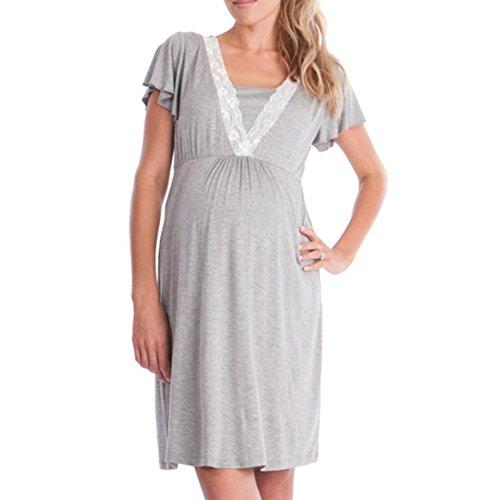 Inlefen Mujeres Pijama Vestido Vestido de Noche de Lactancia de Maternidad camisón de Lactancia para