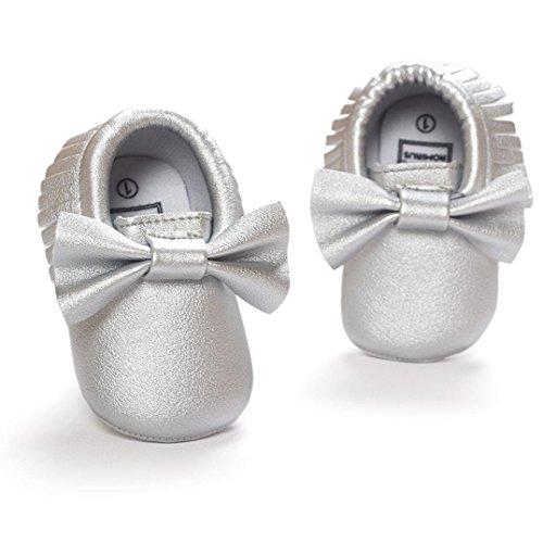 Baby schuhe Jamicy® Baby Mädchen Krippe Troddeln Bowknot Schuhe Kleinkind Turnschuhe beiläufige rutschfeste Schuhe (0 ~ 6 Monat, Rot) Silber