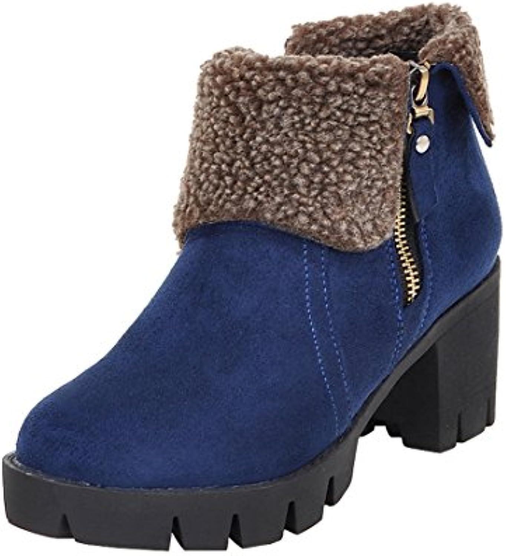 2f9869ad7875 Agodor Women s Platform Block Heel Ankle Boots Nubuck Nubuck Nubuck Leather  With Faux Fur Warm Winter