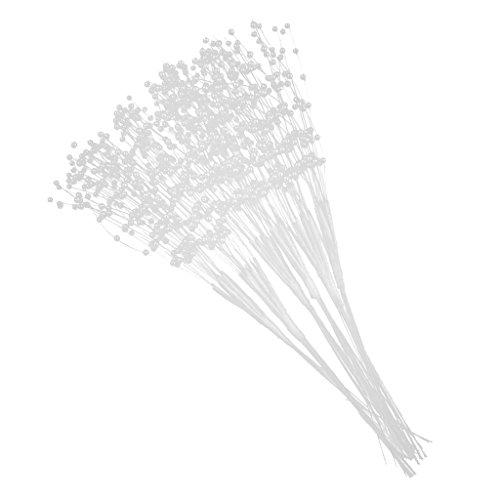 non-brand MagiDeal 60 Pièces Tiges de Perles Artificielles Diamètre 3mm pour DIY Bouquet de Fleurs de Mariage - Blanc