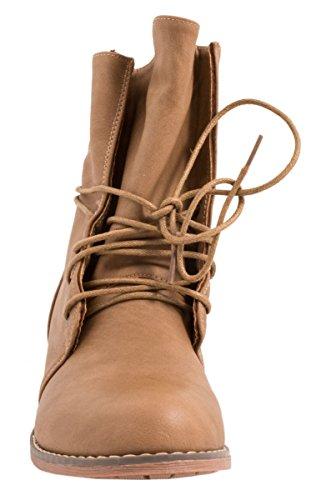 Elara Damen Stiefelette | Biker Boots | Trendy Lederoptik Khaki