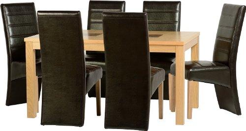 Seconique Wexford 149,9cm Esstisch-Set mit 6G5braun Stühle–Eiche Furnier/Walnuss Inlay/braun Kunstleder