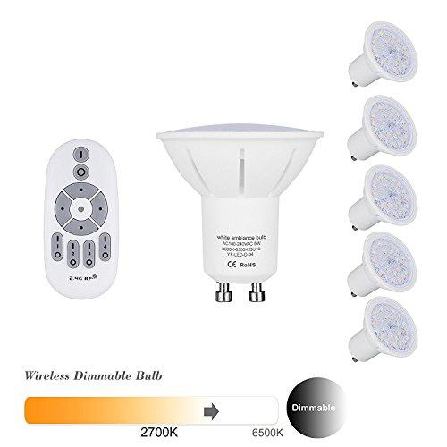 5er pack Lampaous® LED GU10 Lampe Birne 5W 450Lumen ersetzt 50W Halogenbirne, LED GU 10 Dimmbar mit 2,4G drahtlose Fernbedienung, Farbtemperatur von 2700K bis 6500K Warmweiß Weiß Kaltweiß, 5 Stuecke GU10 Birnen+ 1 Fernbedienung