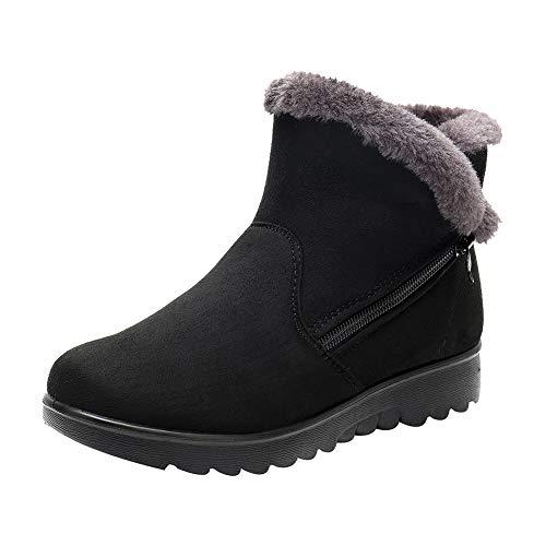 uirend Schneestiefel Damen - Schuhe Stiefel Stiefeletten Gehen Faux Wildleder Warm Fell gefüttert Beiläufig Komfort Knöchel Reißverschluss Gemütlich -
