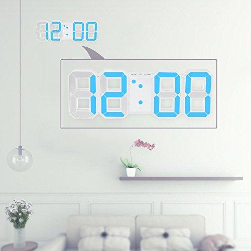 Decdeal Horloge LED Multifonctionnel Large LED Digital Wall Clock 12H / 24H Affichage de l'heure avec Alarme et Snooze Function Luminance Réglable