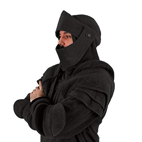 AMhomely Mittelalterliche Ritterrüstung mit Kapuze Kostüm Herren Langarm Vintage Maske Elbow Button Pullover Hoodie Sweatshirt mit Tasche für Herren Größe S-3XL, Schwarz, Grau (Schwarz, XL) (Plus Ritter Kostüm Size)