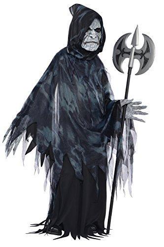 Kinder Seelennehmer Halloween Kostüm Sensenmann Ghost Outfit - Schwarz, 8-10 (Kostüm Seele Taker Halloween)