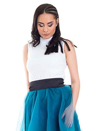 Evoni ärmelloses Shirt mit Halbkragen | Damen Basic-Top mit Rollkragen in Weiß | Größe L | Baumwolle & Elasthan | angenehmer Tragekomfort & perfekte Passform | Sommer Tank-Top (Rollkragen Weißer Top)