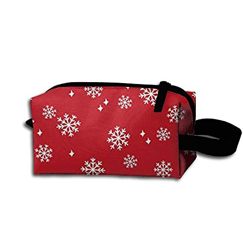 Travel Makeup Snowflake Red Christmas Beautiful Waterproof Cosmetic Bag Quick Makeup Bag Pencil Case -