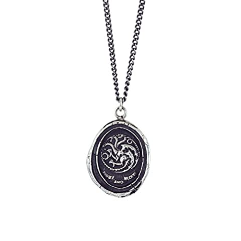 Pyrrha Unisex X Game of Thrones Unisex 925 Sterling Silver House Targaryen Talisman Necklace