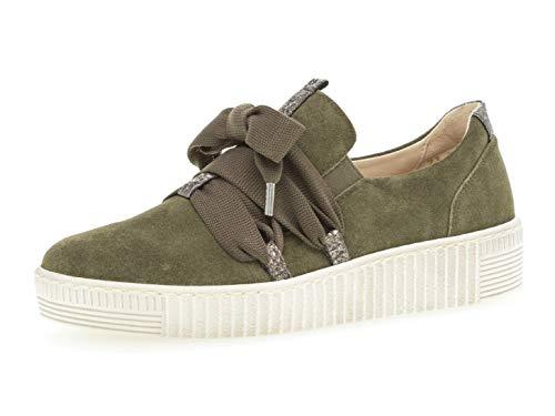 Gabor Damen Low-Top Sneaker 23.333.11, Frauen Halbschuh,Schnürschuh,Strassenschuh,Business,Freizeit,Oliv,38.5 EU / 5.5 UK