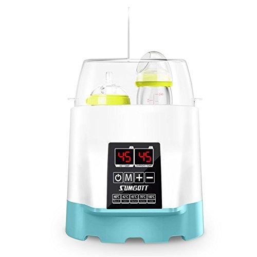 Multifuncional Electrónico Calienta Biberones / Esterilizador / Calentador de alimentos, SUMGOTT diseño de botellas dobles Termostato inteligente Calentador 5 en 1 con pantalla LCD en tiempo real