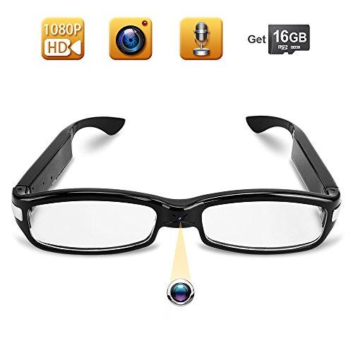 TEKMAGIC 16GB 1920x1080P HD Gafas con Cámara Espía Usable Videocámara Grabador de Vídeo Portátil Mini DV