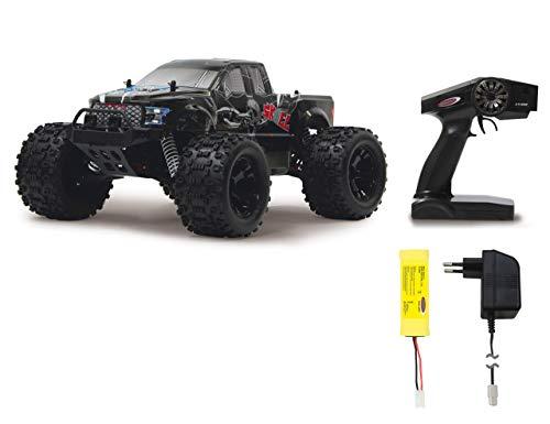 Jamara Skull Monstertruck 1:10 4WD NiMh 2,4GHz - spritzwassergeschützt, Differential / Welle / Achse aus Stahl, Öldruckdämpfer, schmutzgeschütz und gekapseltes Getriebe, kräftiges Lenkservo