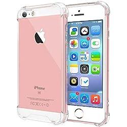 BX Case Coque iPhone 5S / iPhone Se Silicone [ Antichoc - Transparente ] Etui de Protection Fin Léger Souple