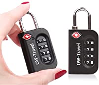 �?? TITAN PICKPROOF 4-Dial TSA Approved Combination Padlock for Luggage Suitcases and Travel - Heavy Duty �?? By OW Travel �?? Flight Accessories for Suitcase, Baggage, Bag, Backpack, Rucksack, Gym Locker (2 Pack, Black)