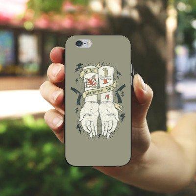 Apple iPhone 4 Housse Étui Silicone Coque Protection Tatouage Phrase Mains Housse en silicone noir / blanc
