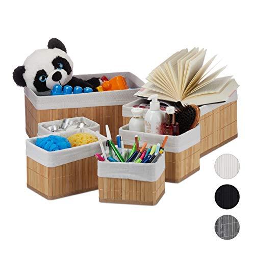 Relaxdays Aufbewahrungskorb 6er Set, mit Stoffbezug, Bambus, rechteckig, Bad, Accessoires, dekorativer Organizer, natur