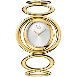 Calvin Klein K1P23520 PVD gold - Reloj analógico de cuarzo para mujer con correa de acero inoxidable, color dorado