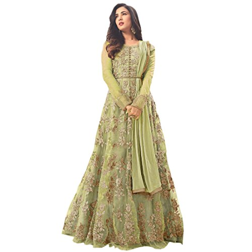 AnK Anarkali Kurtis for Women, Heavy Embroidered Semi-Stitched Long - (Beige)