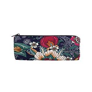 Bonie – Estuche para lápices con diseño floral étnico y bohemio, para la escuela, papelería, bolígrafos, con cremallera, bolsa de maquillaje