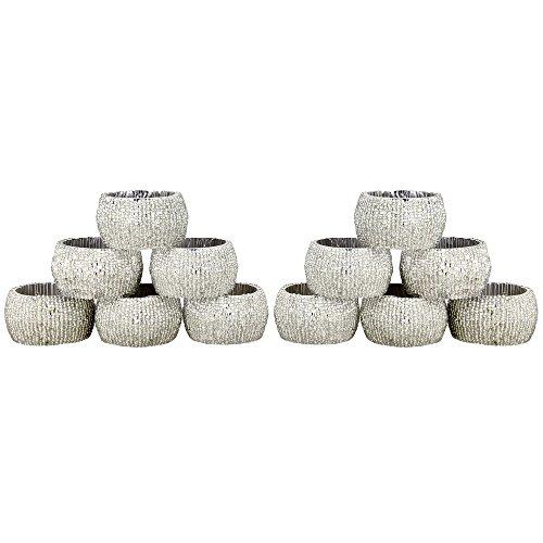 Portatovaglioli vacanza 12 pacco titolare tovaglioli di vetro insieme in rilievo bianco scava fuori artigianali - 6.4 cm