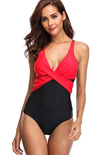 Lever Damen Bademode Einteiler Badeanzug Elegant Monokini Formend Badeanzug mit Softcups Schwarz Rot L Gr. 40 (Rot, Badeanzug Blau Und Weiß)
