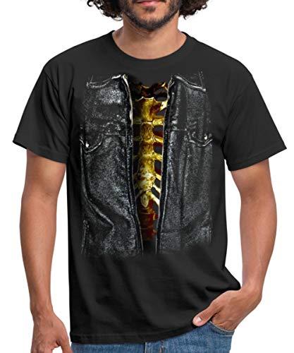 Spreadshirt Skelett Kostüm Männer T-Shirt, XL, Schwarz