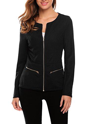 Plunge Damenblazer tailliert mit Reißverschluss Kurzjacke Business Blazer Elegant Herbst Winter Schwarz M (Elegant-blazer)