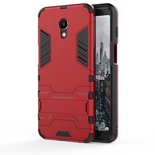 Ougger Handyhülle für Meizu M6s Hülle Schale Tasche, Schutzhülle [Video-Standfuß] Leicht Rüstung Bumper Cover Hart PC + Weich TPU Silikon Gummi Schale für Meizu M6s (Rot)