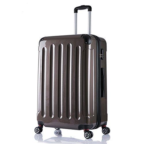 WOLTU RK4211co, Reise Koffer Trolley Hartschale ABS+PC Hochglanz Volumen erweiterbar, Reisekoffer Hartschalenkoffer 4 Rollen, M / L / XL / Set, leicht und...