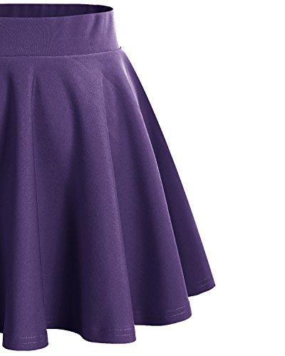 Dresstells Damen Basic Solide vielseitige Dehnbar Informell Mini Glocken Dark Purple
