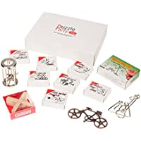 Puzzle Party Mega Set - 12 Geduldspiele aus Holz- & Metall in Präsentbox